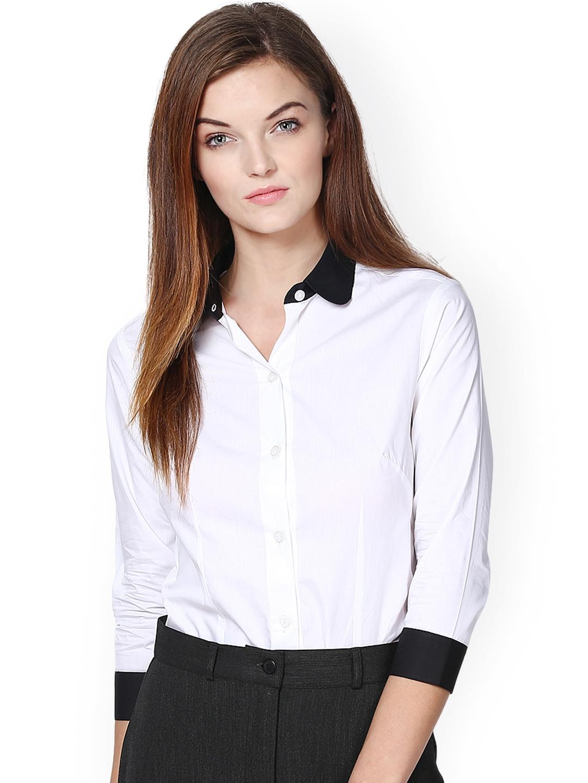 Buy Dazzio Women White Black Modern Fit Smart Casual Shirt