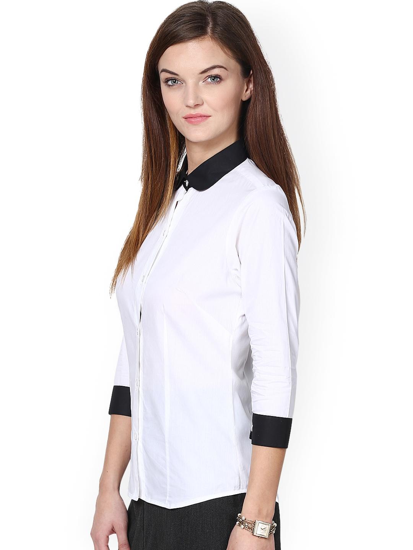 f579ac6b4c5c Buy Dazzio Women White & Black Modern Fit Smart Casual Shirt ...