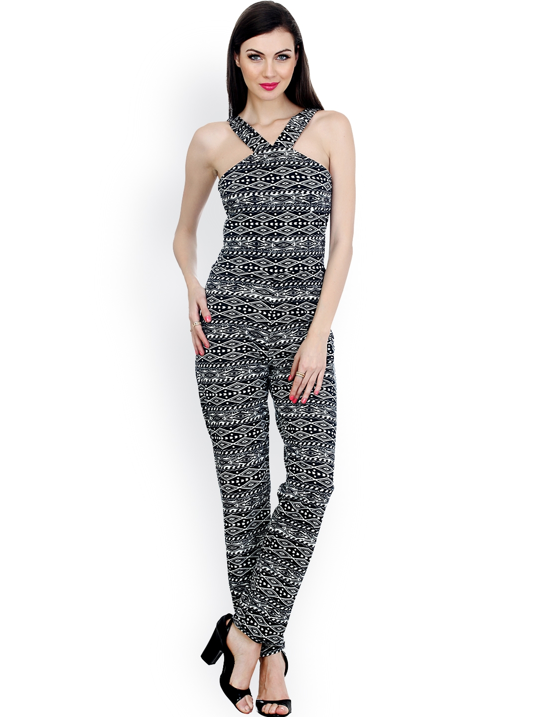 437c09afabe Buy FabAlley Women Black   White Aztec Printed Jumpsuit - Jumpsuit ...