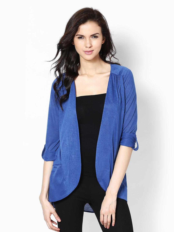 Buy Femella Front Ruffle Top For Women: Buy Femella Blue Shrug - Shrug For Women