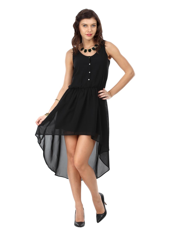 Buy Femella Front Ruffle Top For Women: Buy Femella Black Hi Low Georgette Dress