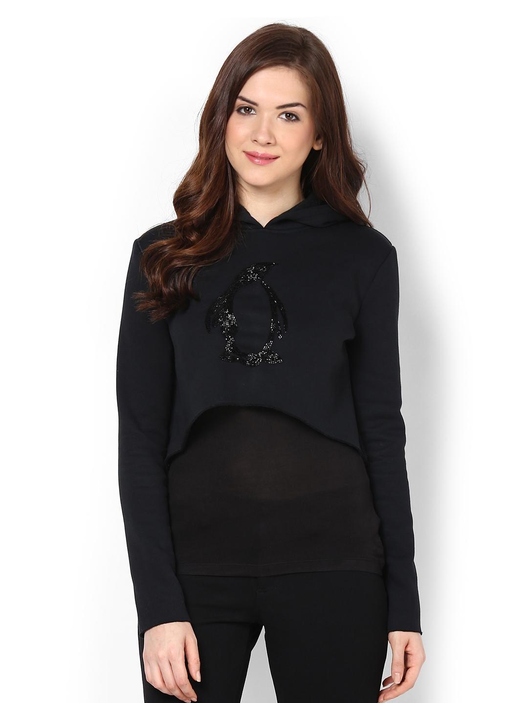 Buy Femella Front Ruffle Top For Women: Buy Femella Black Crop Hooded Sweatshirt