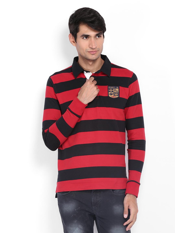 f2f29461b42 Buy Flying Machine Men Red   Black Striped Polo T Shirt - Tshirts ...