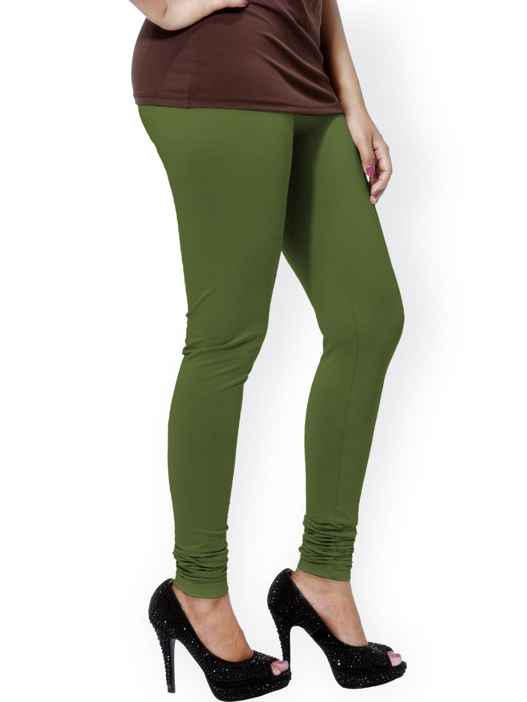 Buy Go Colors Olive Green Ankle Length Churidar Leggnigs Leggings