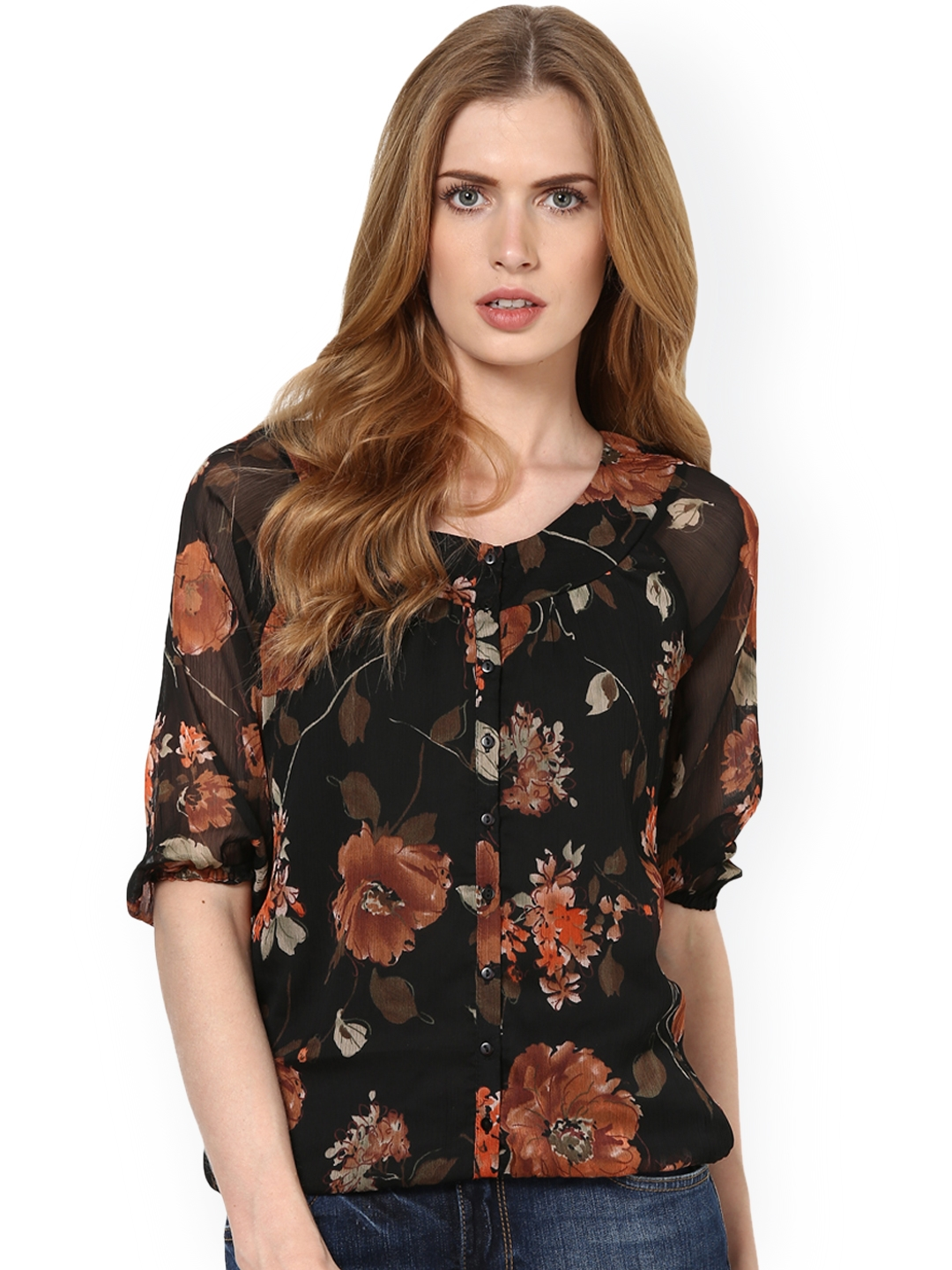 c81c424a089a6 Buy Harpa Women Black Printed Top - Tops for Women 733684