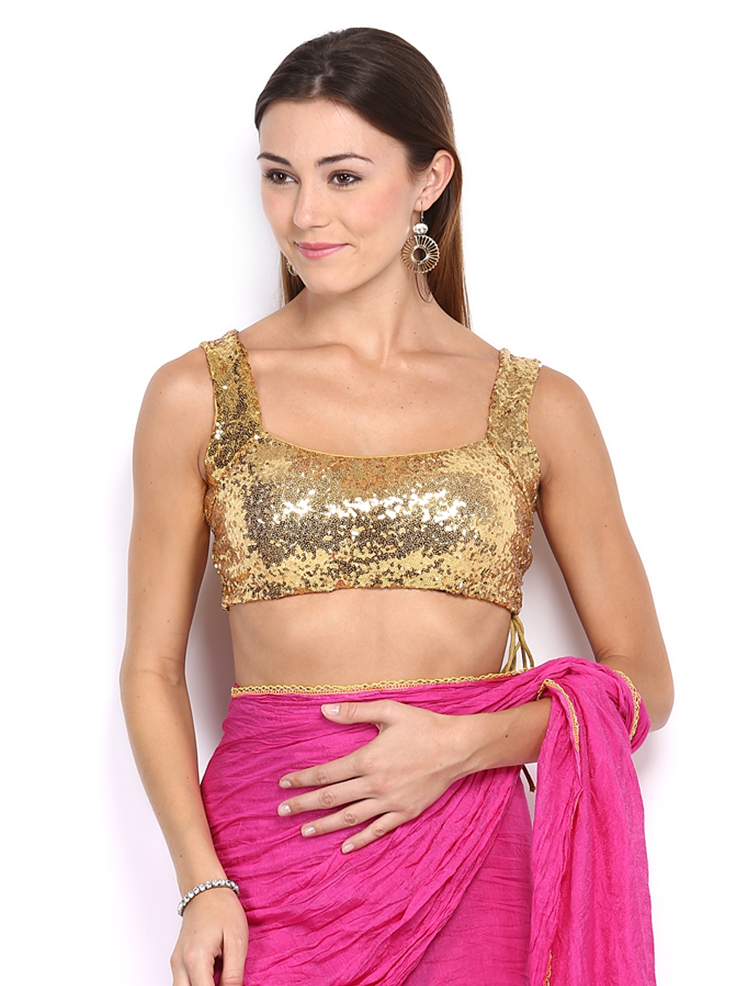 46386f7f03c62 Buy Ira Soleil Gold Toned Sequinned Saree Blouse - Saree Blouse for Women  378606