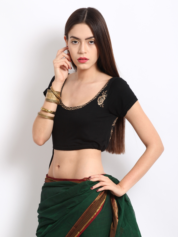 e61dec2fda6cc Buy Ira Soleil Black Printed Saree Blouse - Saree Blouse for Women ...