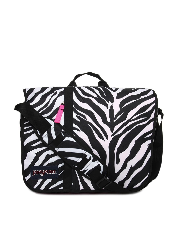 28b6427ccf37 Jansport Women Black & White Printed Market Street Messenger Bag