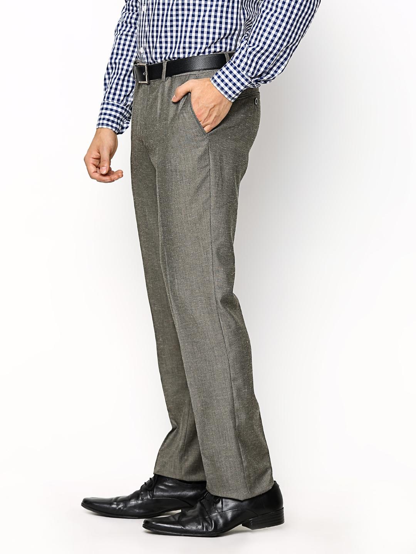 f51a49818d5 Buy John Players Men Grey Slim Fit Linen Blend Formal Trousers ...
