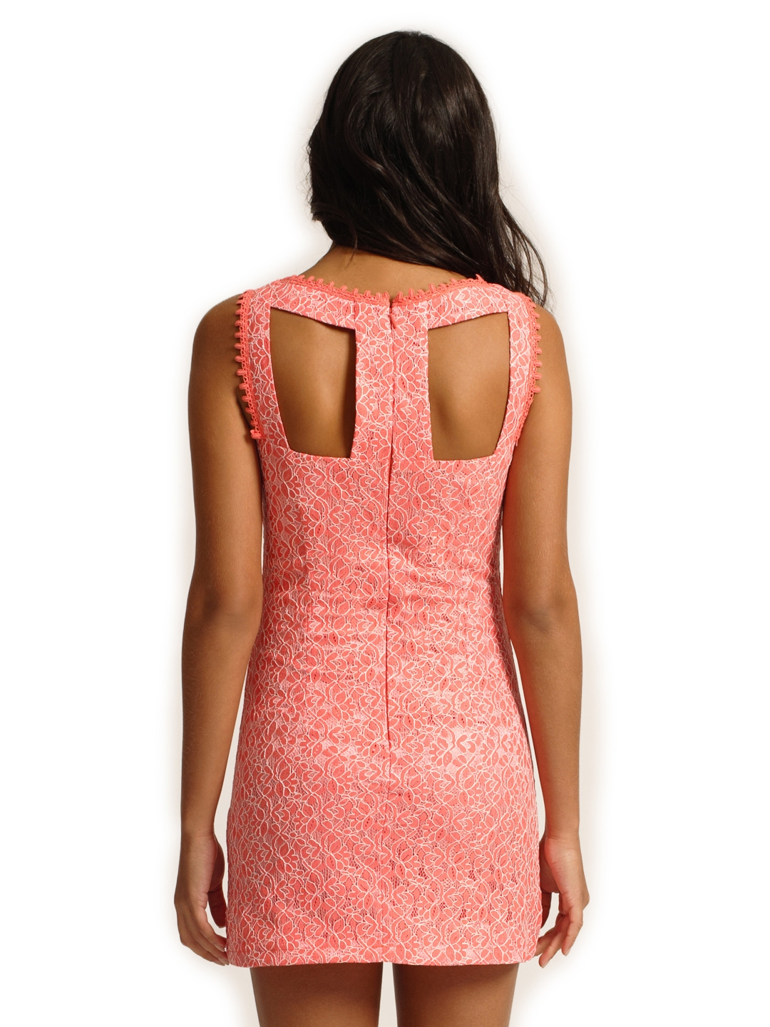 4589dc10572e Buy Little Mistress Coral Pink Lace Bodycon Dress - Dresses for ...