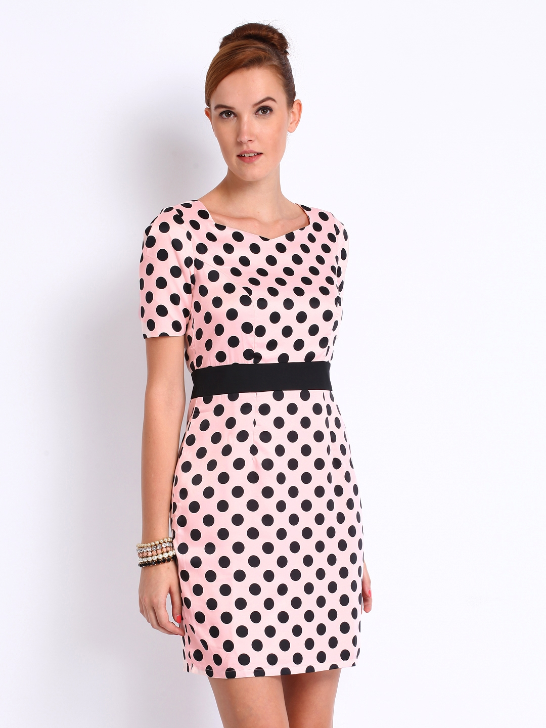 227fa70d8de3 Buy Mast   Harbour Baby Pink   Black Printed Tiffany Tailored Dress ...