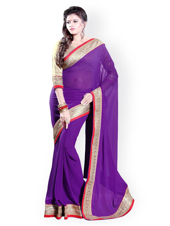 0928ab4a76 Buy Mirchi Fashion Purple Faux Georgette Fashion Saree - Sarees for ...