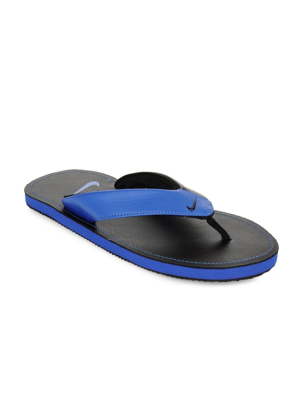 finest selection 90f5e 7c8a7 Nike Men Black & Blue Chroma Thong II Flip Flops