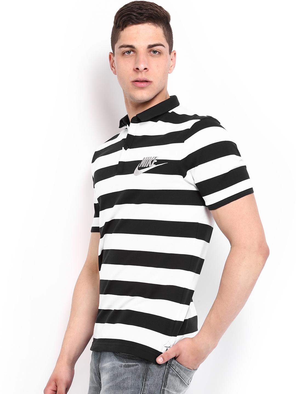 0f833d1f Buy Nike Men Black & White Striped Polo T Shirt - Tshirts for Men ...