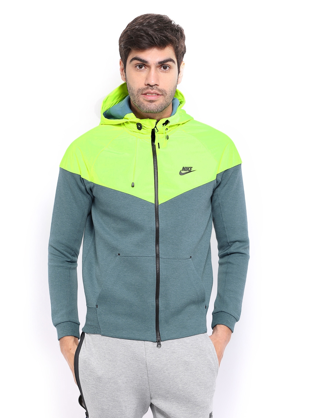 Nike Men Neon Green Hooded Jacket