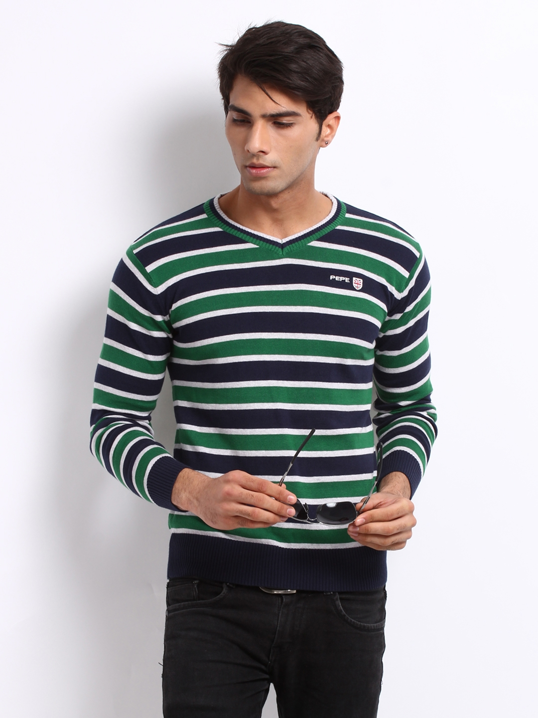buy pepe jeans men navy green striped sweater sweaters. Black Bedroom Furniture Sets. Home Design Ideas