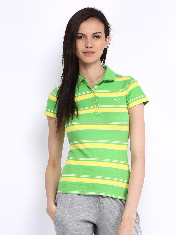 Buy Puma Women Lime Green   Yellow Striped Polo T Shirt - Tshirts for Women  299862  2547e65707