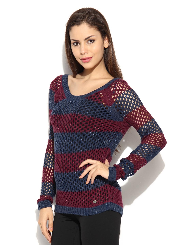 51b0b84515b8 Buy Roxy Women Blue   Purple Striped Sweater - Sweaters for Women ...