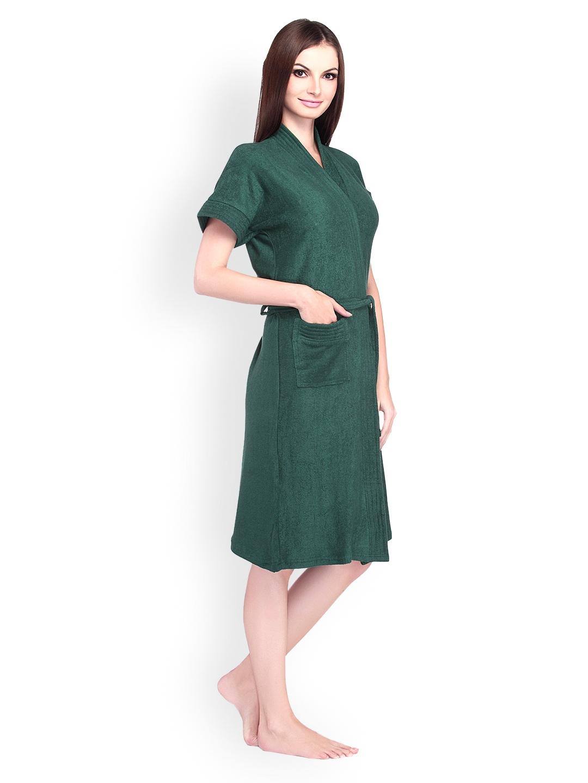 Buy Sand Dune Women Bottle Green Bathrobe - Bath Robe for Women ... 648538a28