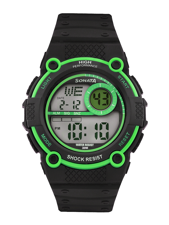 Sonata Men Black Digital Watch 77004PP01