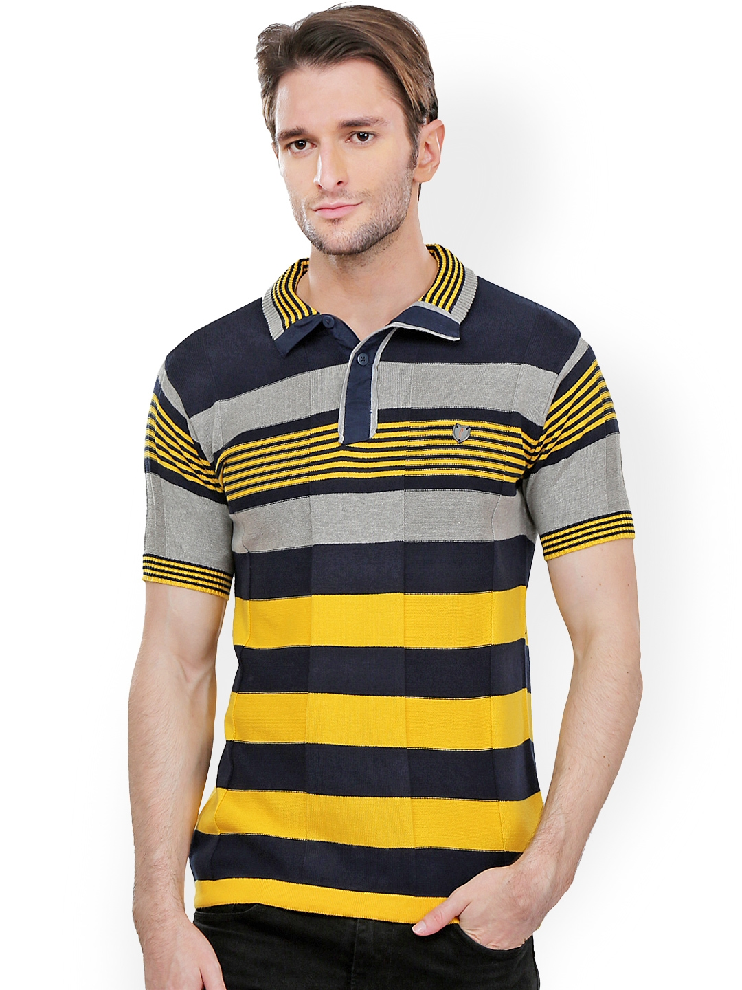 e256b6a77a3 Buy Stride Men Navy   Yellow Slim Fit Polo T Shirt - Tshirts for Men 574395