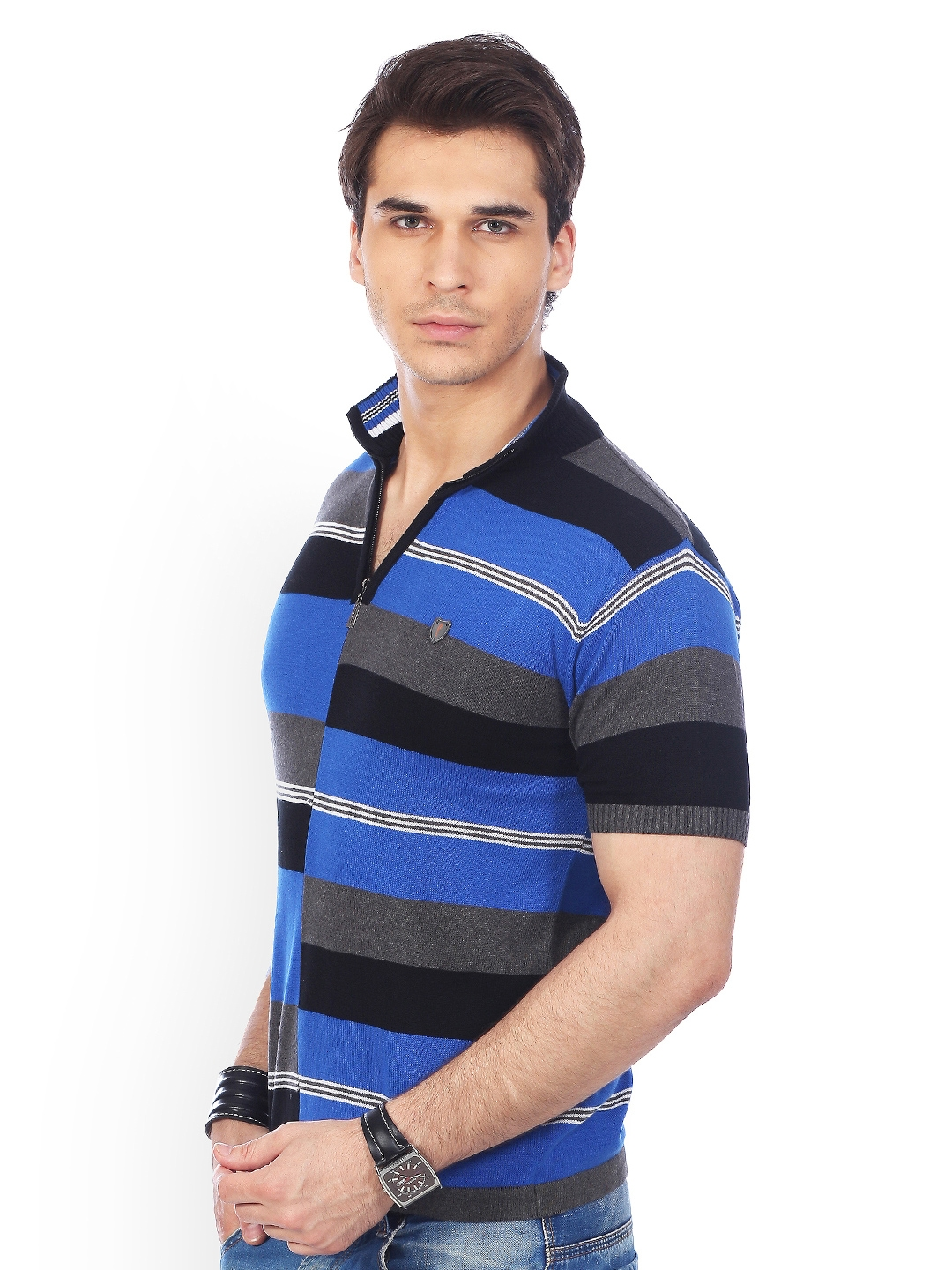 e63ec13b886 Buy Stride Men Blue   Black Striped T Shirt - Tshirts for Men 374779 ...