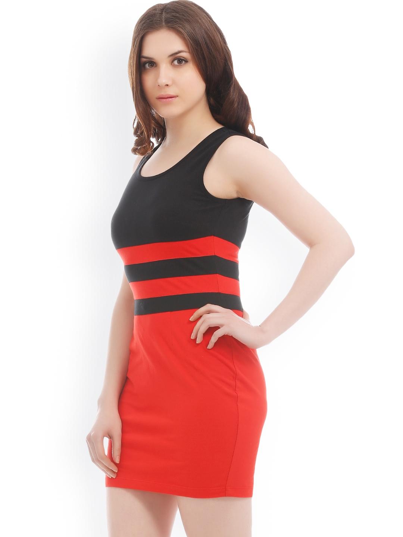 77cb138485 Buy Texco Black   Red Bodycon Dress - Dresses for Women 676810