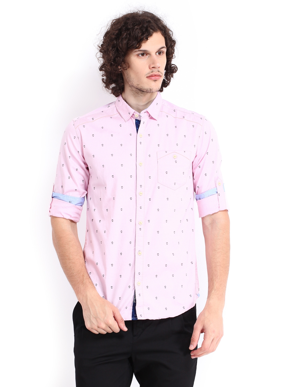 Buy The Indian Garage Co Men Pink Anchor Print Casual Shirt ...