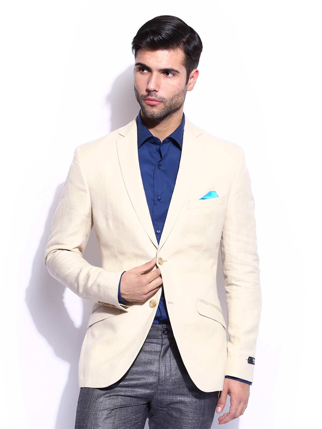 Buy Theme Men Cream Coloured Linen Blazer Blazers For