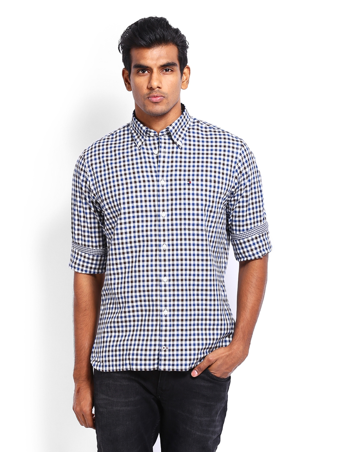 c3e78f4e Buy Tommy Hilfiger Men Brown & Navy Checked Brend Custom Fit Casual ...