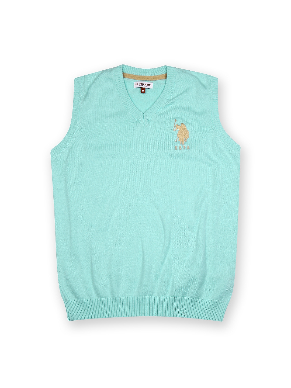 2bcc19a25ea4 Buy U.S. Polo Assn. Kids Boys Blue Sleeveless Sweater - Sweaters for ...