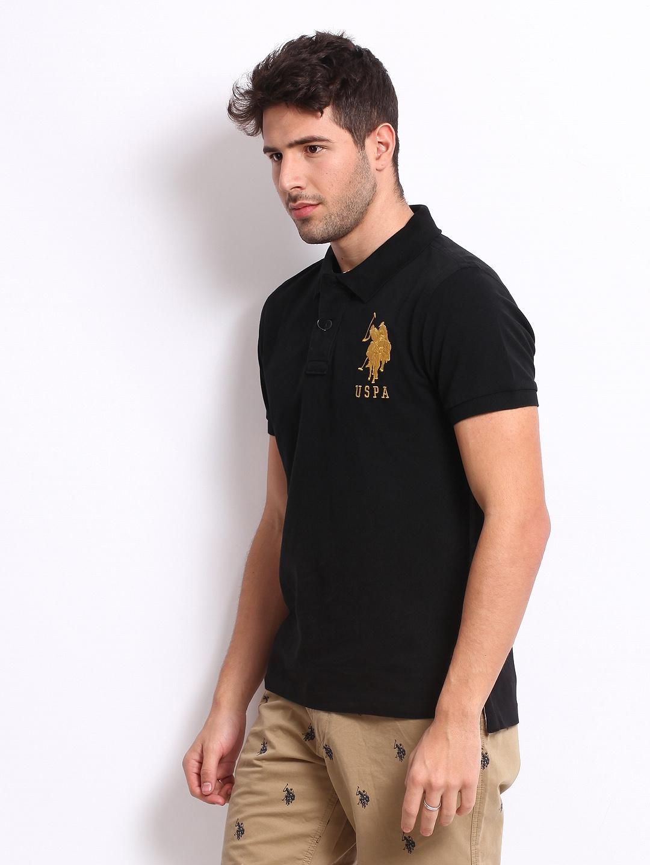 deae6977 Buy U.S. Polo Assn. Men Black Pique Polo T Shirt - Tshirts for Men ...