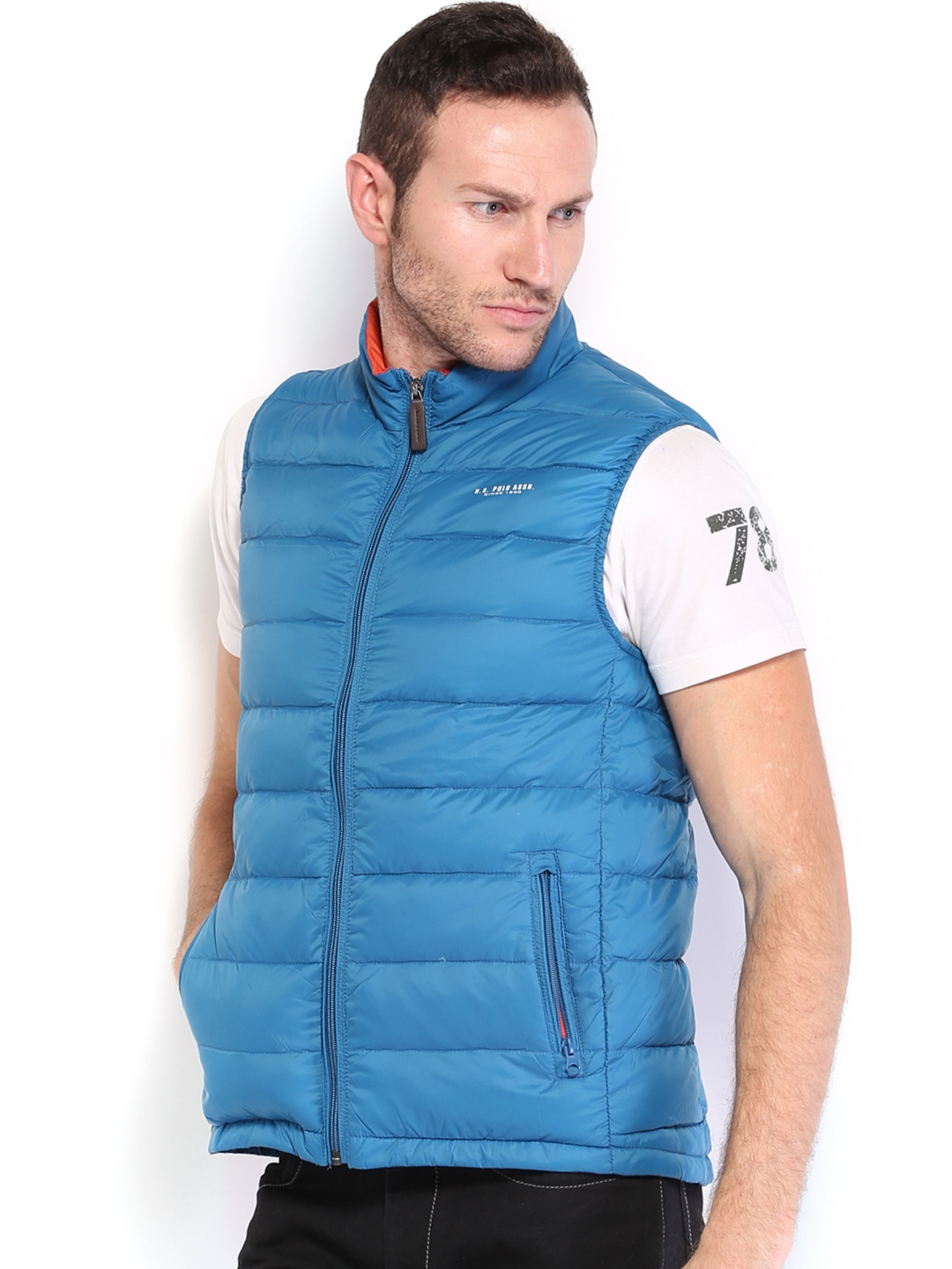 2ee7871b56 Buy U.S. Polo Assn. Men Blue Sleeveless Padded Jacket - Jackets for ...