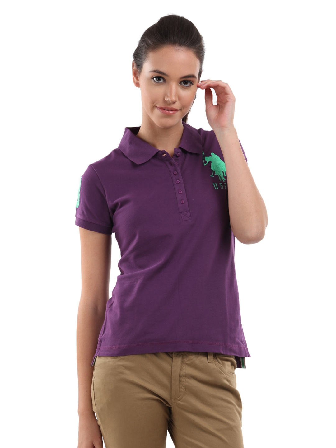 Buy Us Polo Assn Women Majesty Purple Polo T Shirt Tshirts For