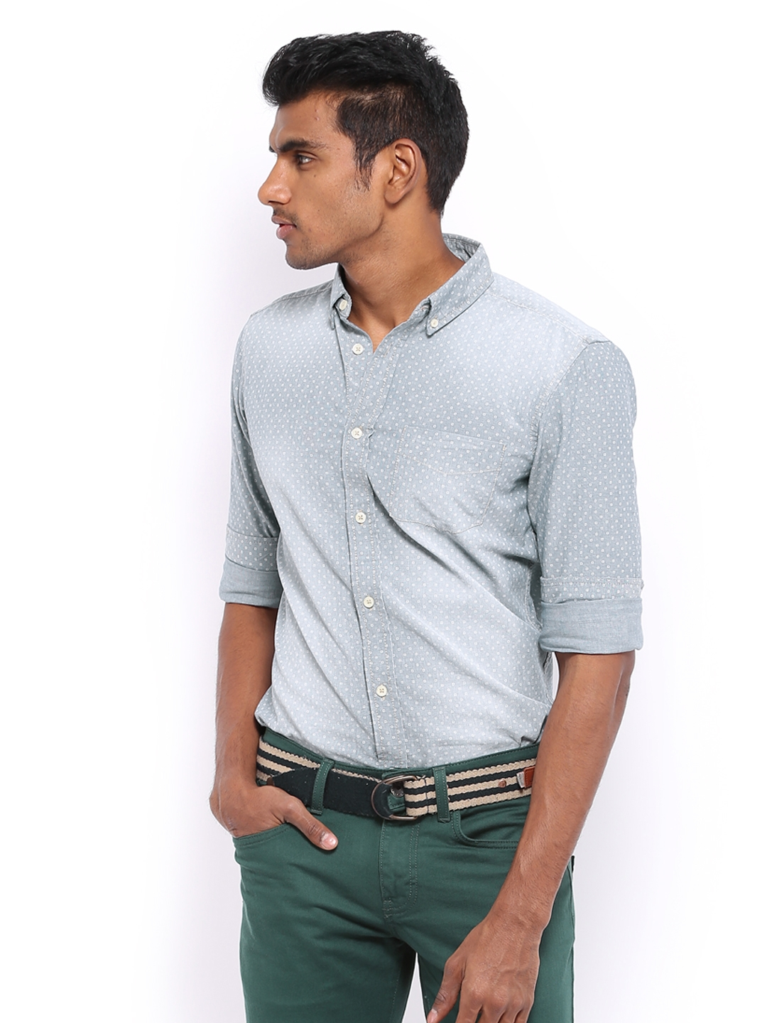 United Colors of Benetton Men Grey Printed Casual Shirt