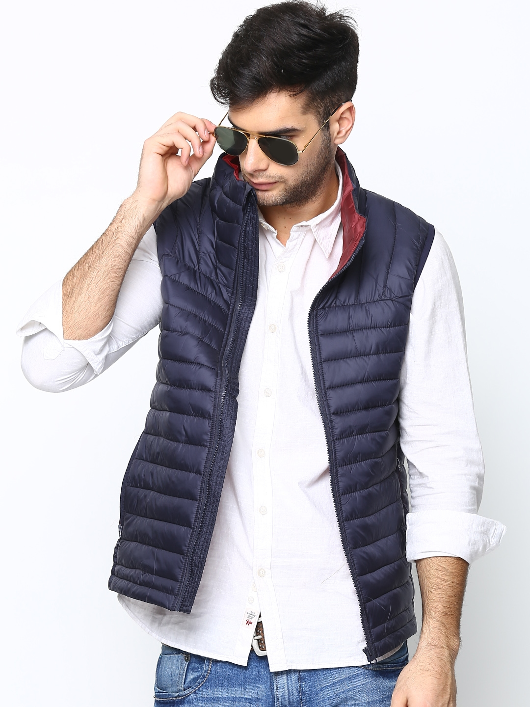 9f341fa2043b5 Buy United Colors Of Benetton Men Navy Sleeveless Jacket - Jackets ...