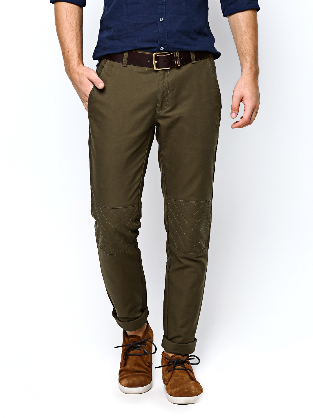 Buy United Colors Of Benetton Men Olive Green Casual Trousers