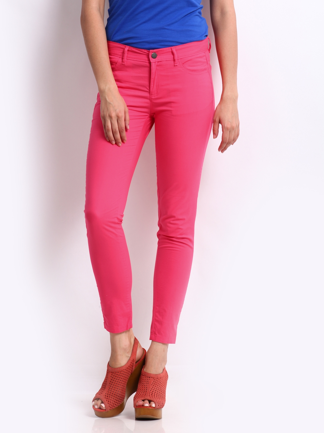United Colors of Benetton Women Pink Slim Fit Trousers