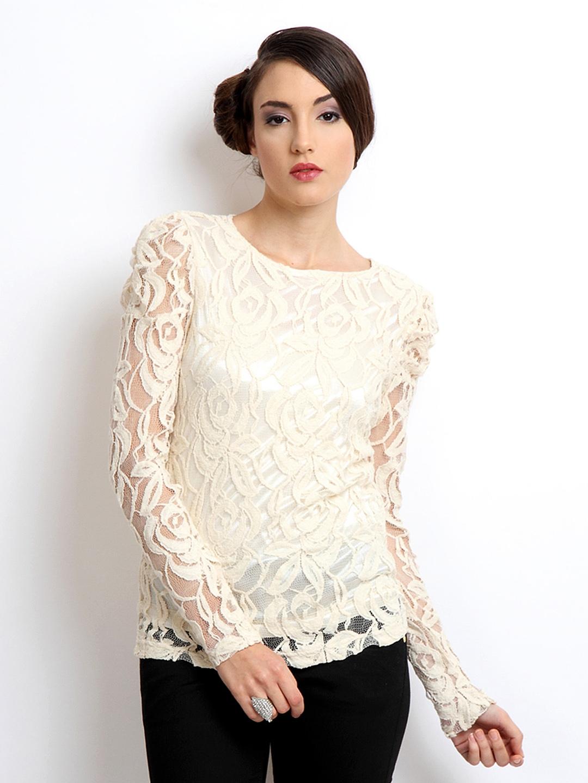 4b4d8e2a13d5 Buy Vero Moda Women Off White Lace Top - Tops for Women 188600 | Myntra