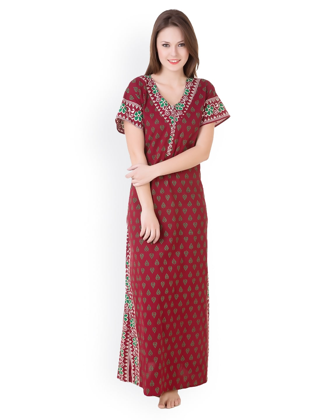 Masha nt-a114-749 Maroon Cotton Nighty And Night Gowns - Best ... 61f323c00