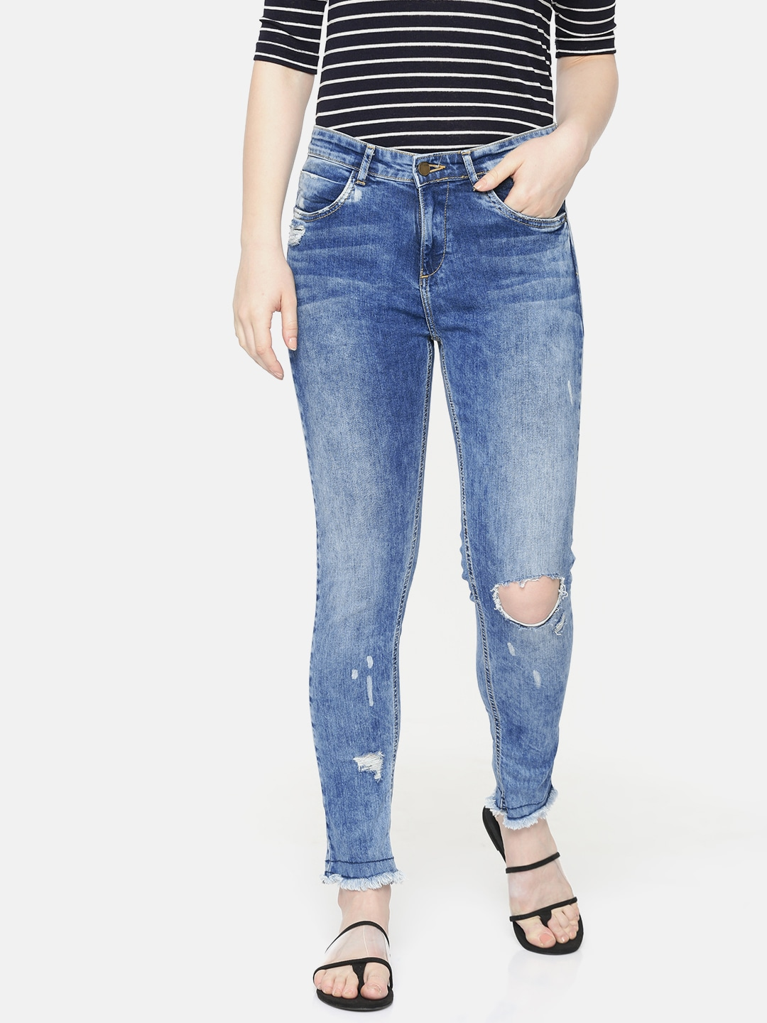 Women Blue Adora Skinny Fit Mid-Rise Slash Knee Stretchable Ankle Jeans