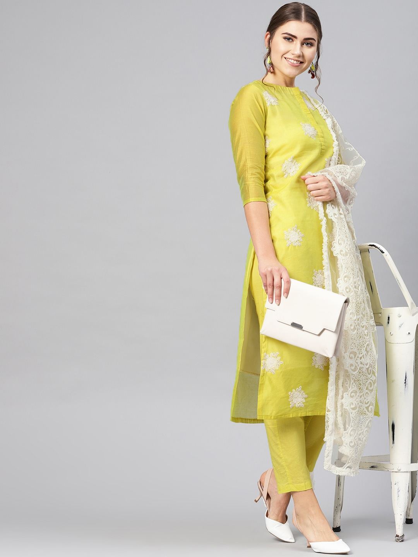 Kurta Set with Aari Work myntra