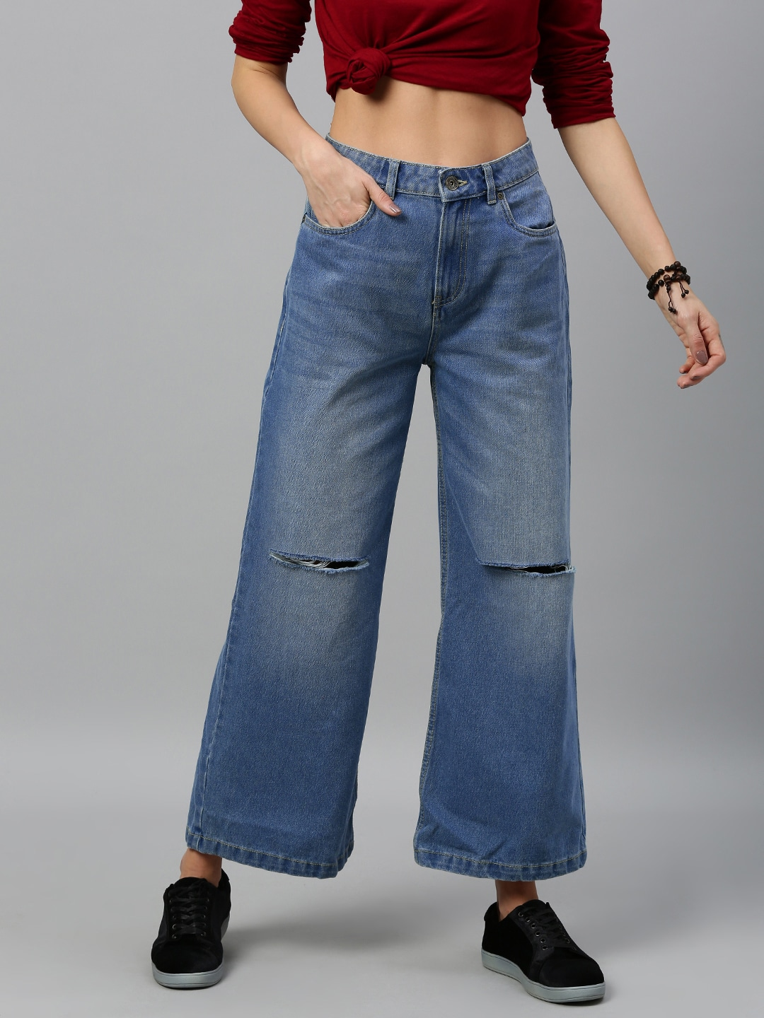 Women Blue Wide Leg Mid-Rise Slash Knee Stretchable Jeans