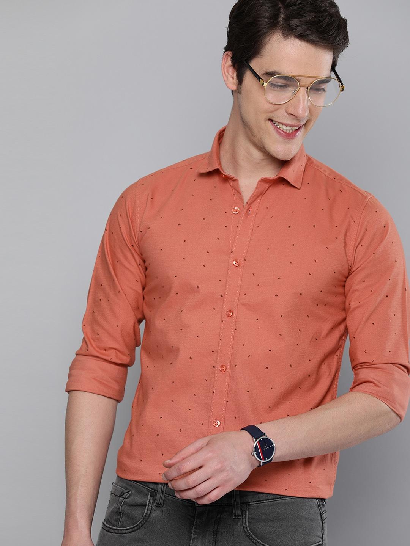 Men Rust Orange Brown Regular Fit Printed Casual Shirt