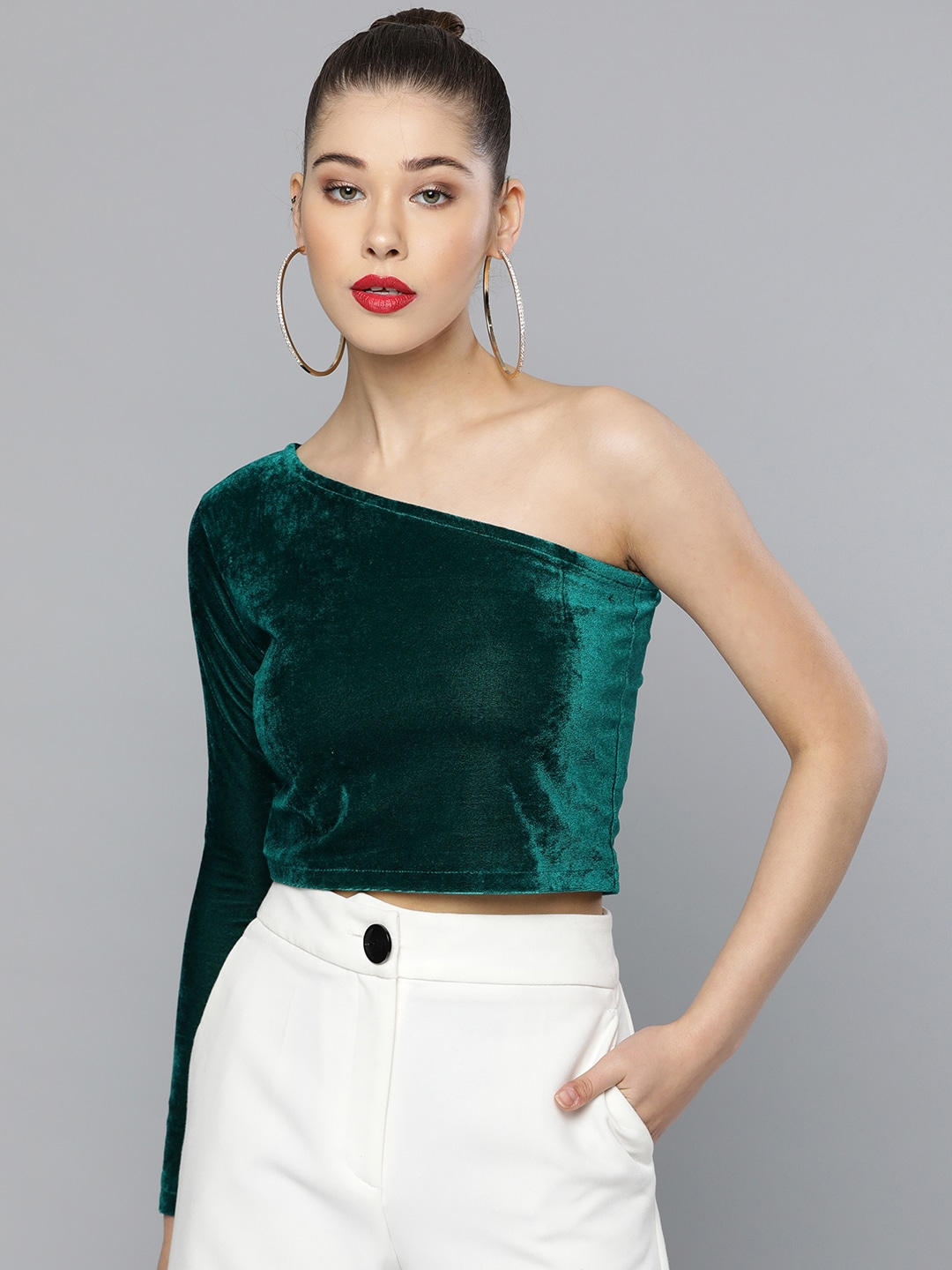 Women Green Solid One-Shoulder Crop Regular Top With Velvet Finish