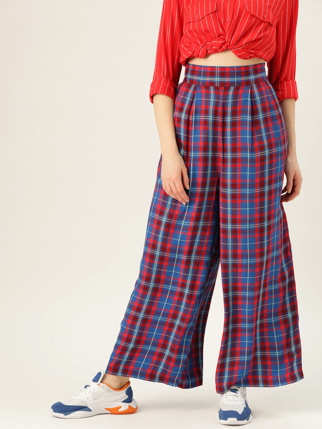 UCB Women Blue & Red Regular Fit Checked Parallel Trousers