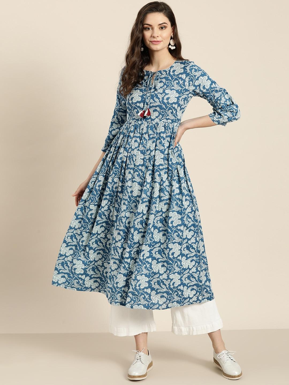 Women Blue & Off-White Printed Anarkali Kurta