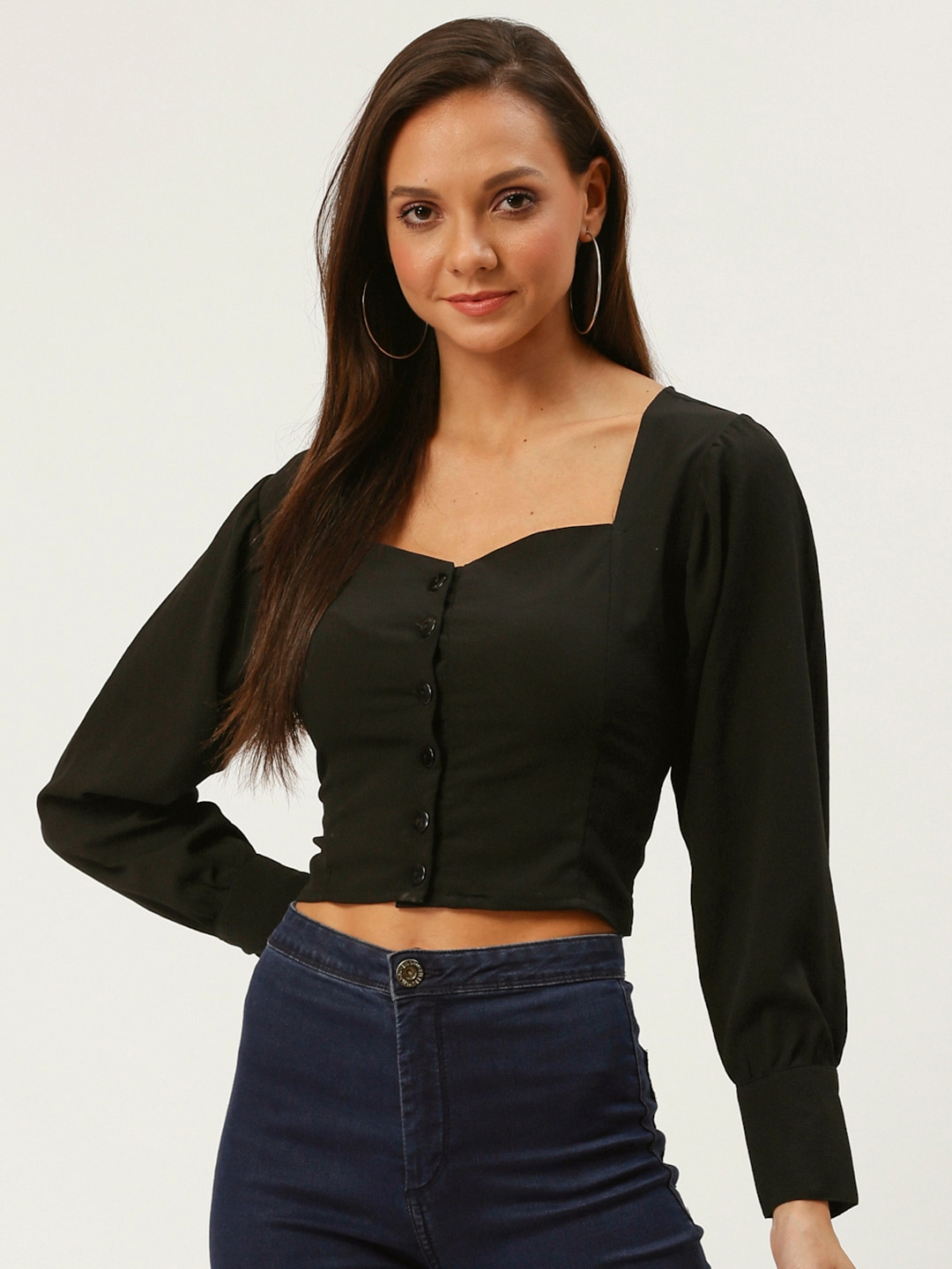 Women Black Solid Victorian Crop Fitted Top