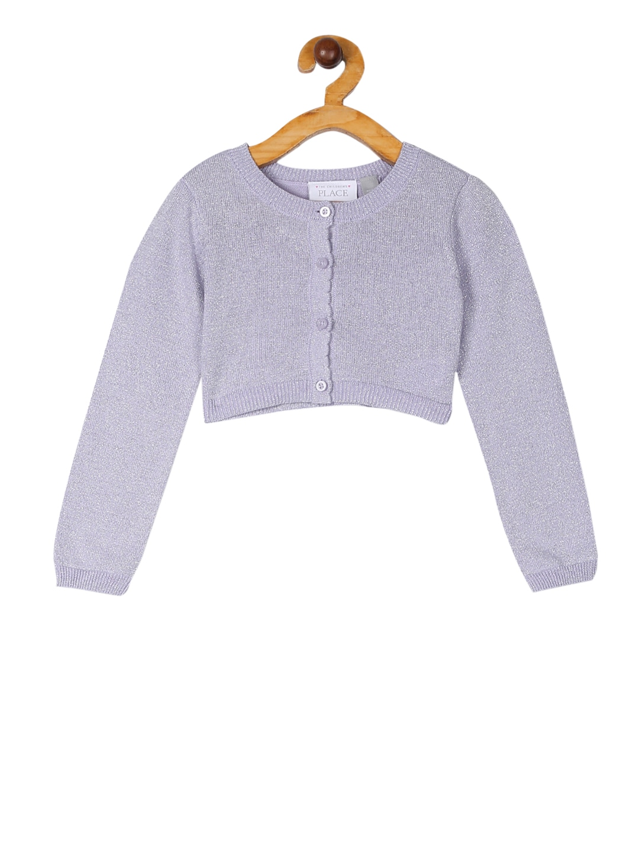 Girls Purple Solid Cardigan Sweater