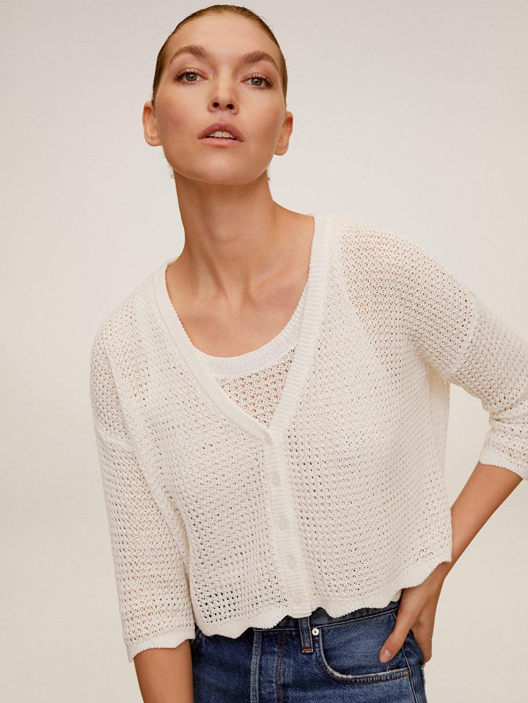 Women Off-White Crochet Cardigan